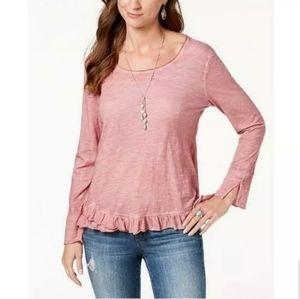 Style & Co Ruffle Hem Top Mesa Rose Sz PS